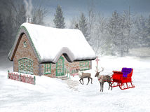 Xmas Time, Santa S Cottage Royalty Free Stock Image