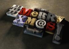 Xmas-titel för glad jul i tappningträsnitttext och hashta Stock Illustrationer