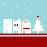 Xmas Town On Snowing Stock Images