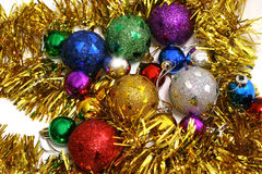 Xmas toys. Christmas (xmas) tree decoration toys with scarf Royalty Free Stock Photography