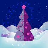 Xmas-träd, stjärnklar natt, snöflingor och snödrivor stock illustrationer