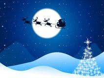 Xmas-trädet föreställer glad jul och hälsning Arkivfoto