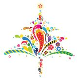 Xmas tree. The abstract Xmas tree is made up of festive decorations Royalty Free Stock Images