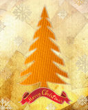 Xmas tree. Collage style illustration. Christmas tree, ancient papers background, paper snowflakes stock illustration