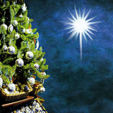 Xmas tree. Christmas tree with decorations on grungy blue background Royalty Free Stock Photos