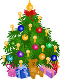 Xmas tree. With candles and gifts Royalty Free Stock Photos