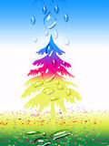 Xmas tree. A christmas tree in winder season and winder water drops coming down with gradient background Royalty Free Stock Images