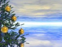 Xmas tree. With golden balls stock photo