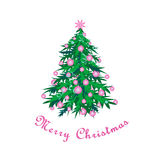 Xmas tree. Isolated green Christmas tree on a white background. Greeting card. Vector Royalty Free Stock Photos