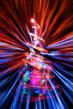 Xmas tree with abstract christmas lights explosion Stock Image