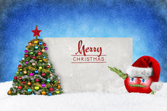 XMAS tree and ball with funny face Royalty Free Stock Photo