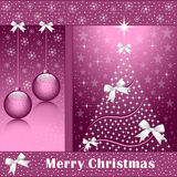 Xmas tree, balls and bows. Christmas tree, balls, bows, stars, snowflakes and snow on a rose colored background Stock Image