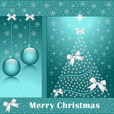 Xmas tree, balls and bows. Christmas tree, balls, bows, stars, snowflakes and snow on a blue background Royalty Free Stock Photos