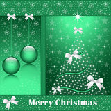 Xmas tree, balls and bows. Christmas tree, balls, bows, stars, snowflakes and snow on a green background Stock Photography