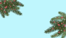 Christmas trees, . Branches of Christmas trees and red. Xmas tree branches,red berries and snowflakes, sparkles.Merry Christmas and Happy New Year greeting Stock Image