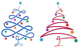 Xmas tree. Brush stroke isolated line art xmas tree image royalty free illustration