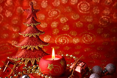 Xmas tree and candle Royalty Free Stock Photo