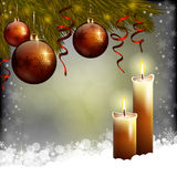 Xmas tree and candles. An editable vector illustration of Xmas tree, baubles and candles royalty free illustration