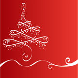 Xmas tree,  card. In red tone Royalty Free Stock Photography