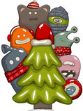 Xmas tree. Christmas day greeting card with tree and monsters Stock Photography
