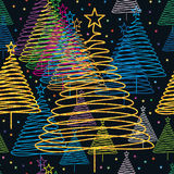 Xmas tree color golden glitter seamless pattern. This illustration is design and drawing stylish fir tree line, colorful and golden glitter celebrating the Royalty Free Stock Images