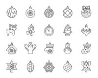 Xmas Tree Decor simple black line icons vector set. Xmas tree decorations thin line icon set. Outline sign kit of hang christmas ball. Baubles linear icons of royalty free illustration