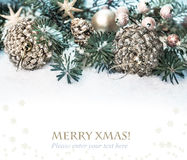 Xmas tree, decorated branches on snow Royalty Free Stock Photos