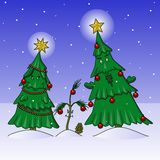 Xmas tree family Royalty Free Stock Photos