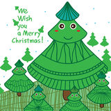 Xmas tree feminine cute card Stock Images