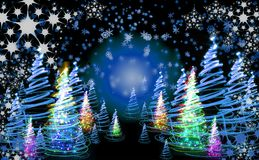 Xmas tree (forest). On the color background Stock Image