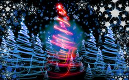Xmas tree (forest). On the color background Stock Photo