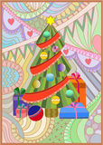 Xmas tree with gifts Royalty Free Stock Photography