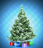 Xmas tree with gifts over dark blue. Snowflake textured background Royalty Free Stock Photos