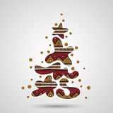 Xmas tree - graffiti text Stock Images