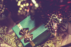 Xmas Tree and Green Gift Box Royalty Free Stock Photos