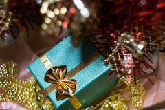 Xmas Tree and Green Gift Box Stock Images