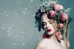 Xmas tree in hairstyle Stock Photography