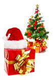 Xmas tree, hat  and presents Stock Photography