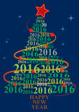 2016 xmas tree. Illustration of xmas tree with 2016 text year royalty free illustration