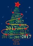 2017 xmas tree. Illustration of xmas tree with 2017 text year Royalty Free Stock Images