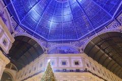 Xmas tree and lightening of Galleria dome, Milan Royalty Free Stock Photos