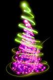 Xmas tree. (lights) on the black background Royalty Free Stock Image