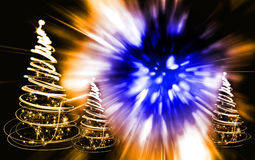 Xmas tree. (lights) on the color background Royalty Free Stock Image