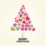 Xmas Tree of Love Heart Stock Images