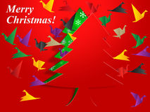 Xmas Tree Means Birds In Flight And Festive Royalty Free Stock Photography