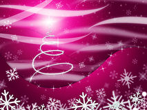 Xmas Tree Means Snow Flake And Festive. Xmas Tree Showing Merry Christmas And Snowy Stock Photo