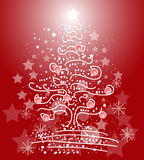 Xmas tree on red background Stock Photo
