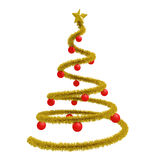 Xmas tree with red balls isolated Stock Photos