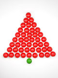 Xmas tree from red balls on white background. 3d render Stock Photography