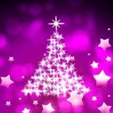 Xmas Tree Represents Bokeh Lights And Color. Xmas Tree Indicating Glowing Christmas And Stars Stock Photos